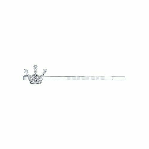 Заколка-невидимка из серебра с фианитами