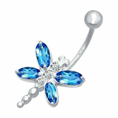Пирсинг в пупок из серебра с голубыми фианитами