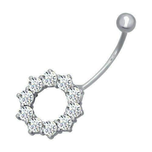 Пирсинг в пупок из серебра с фианитами