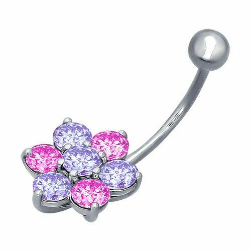 Пирсинг в пупок из серебра с сиреневыми и розовыми фианитами
