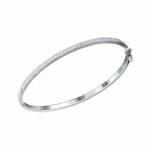 Белый браслет из серебра с фианитами