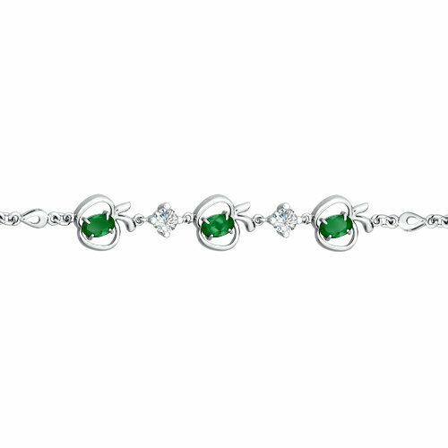 Браслет из серебра с зелеными фианитами