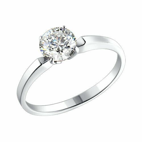 Серебряное помолвочное кольцо с фианитом
