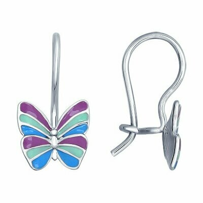 Детские серьги с яркими бабочками