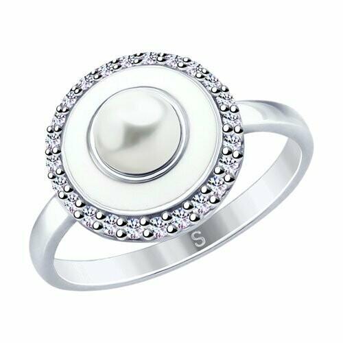 Кольцо из серебра с эмалью и жемчугом и фианитами