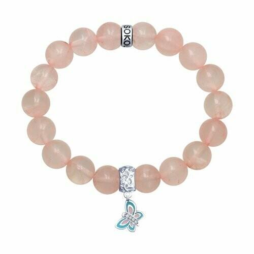 Браслет из серебра с эмалью и розовым кварцем и фианитами