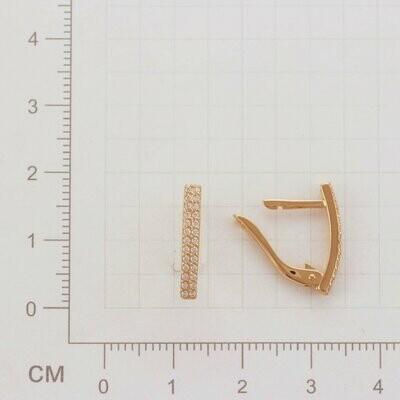 Серьги СргЛ32 с бесцветными фианитами золото 585