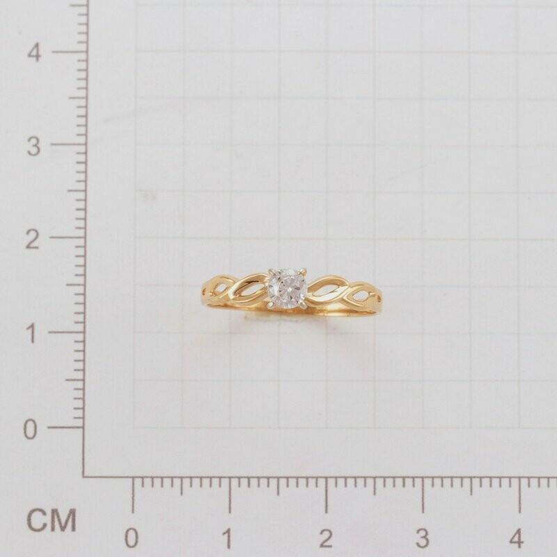 Кольцо КЛ-23 диаметр 18,0 мм с бесцветным фианитом
