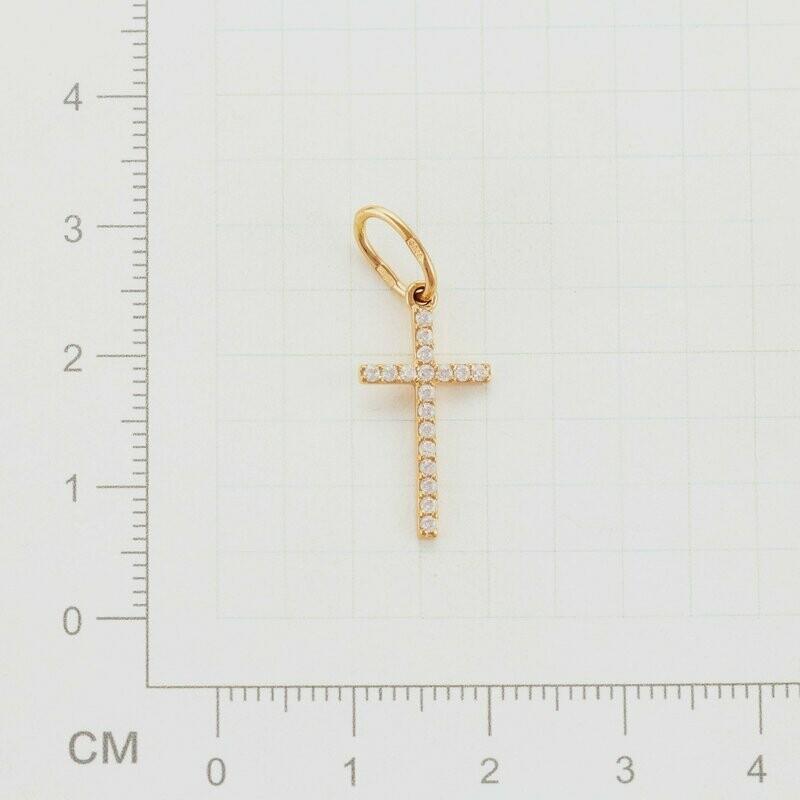 Крест СК18.09 с бесцветными фианитами золото 585