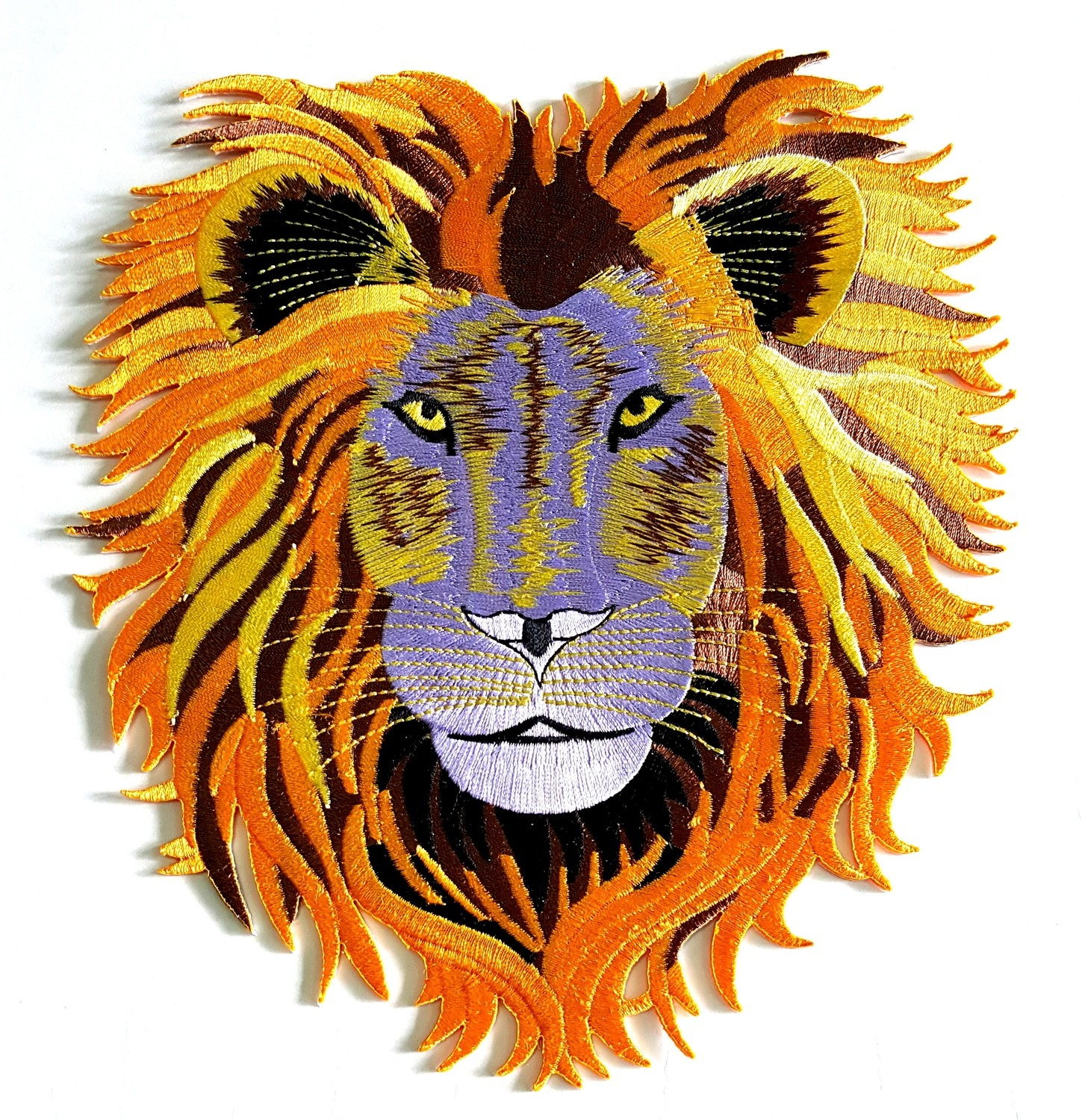 Large Lion Head Iron On Patch
