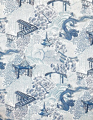Blue Tokyo Fabric By The Yard