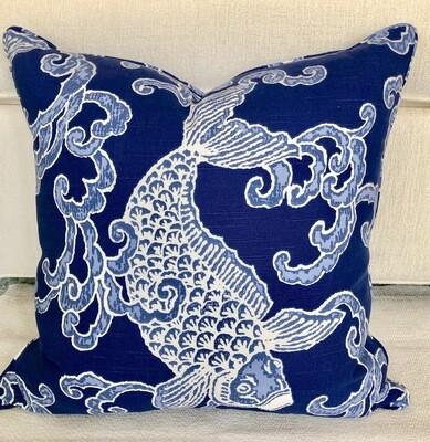 Indigo Koi Pillow