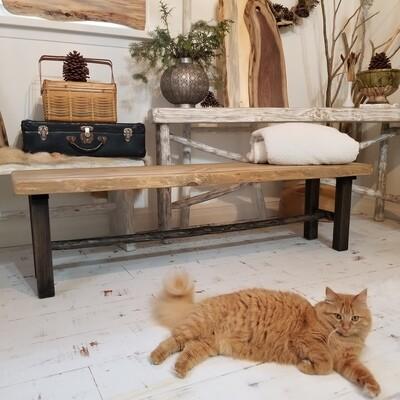 Live edge natural and ebony custom bench