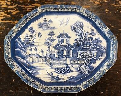 Blue and White Tin Tray