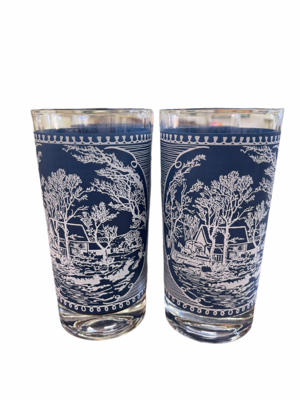 Currier & Ives Blue Tumblers