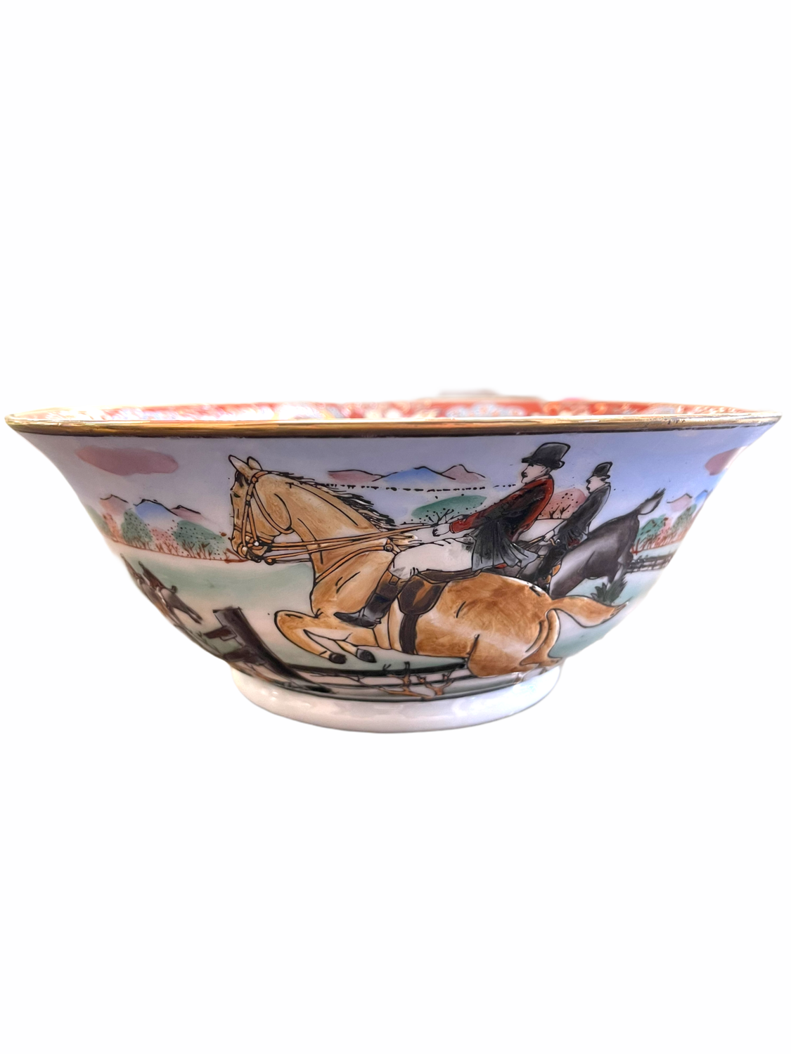 Hand Painted Horse Jumping Bowl