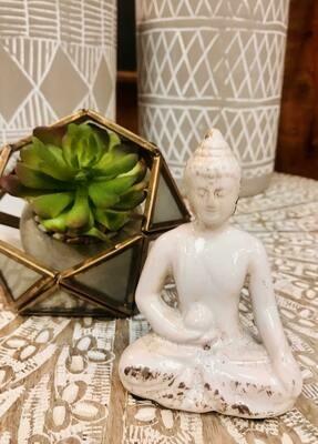 W B Wht Ceramic Buddha