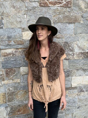 Coalition Camel Faux Fur Vest