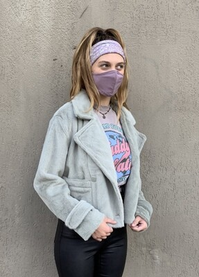 Oat Sage Dbl Breasted Crop Jacket