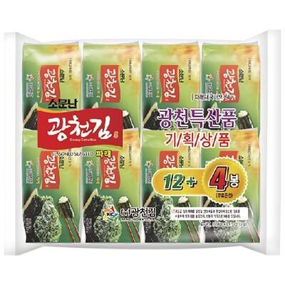 Kwangcheon Seasoned Green Seaweed for Lunchbox 5g*16