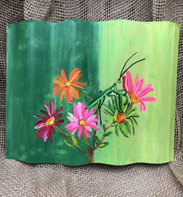 Small Corrugated Painted Wall Hanging
