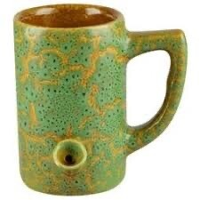 Ceramic Water Pipe Mug 8oz/ Green Glaze