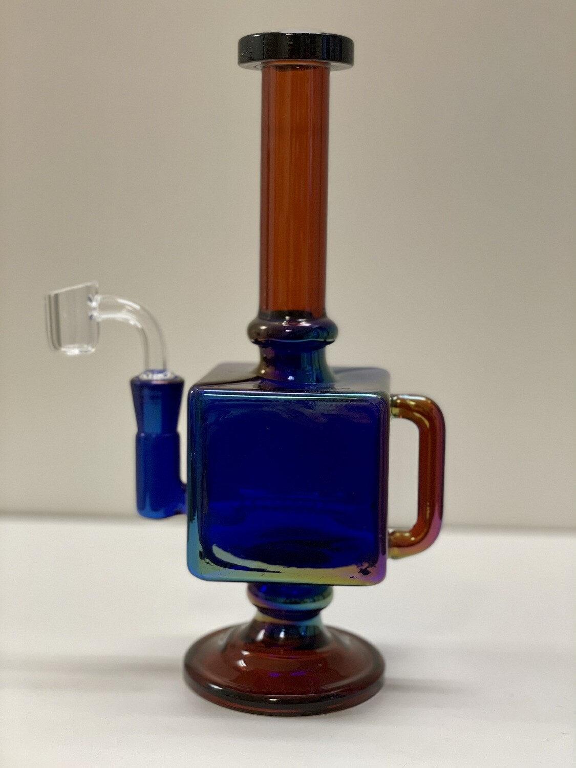 "Iridescent Teapot Cube Inline Rig 9.5""/14mmf"