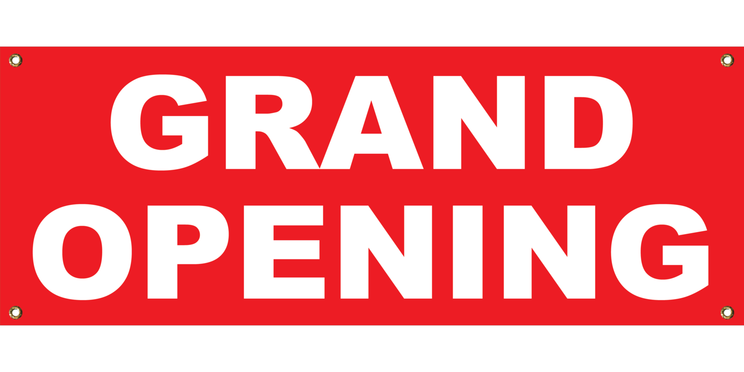 RED GRAND OPENING BANNER 2' X 4'
