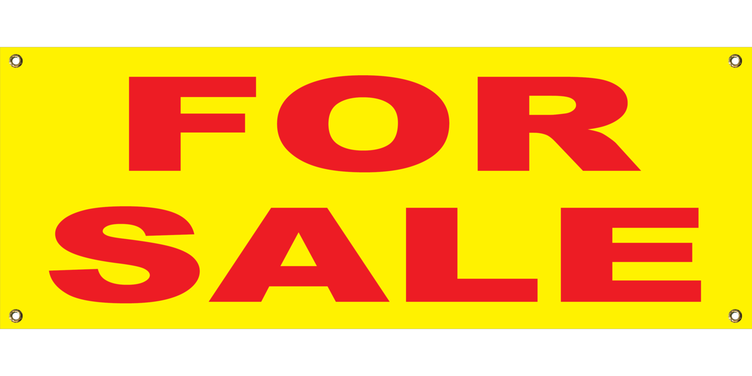 YELLOW FOR SALE BANNER 2' X 4'