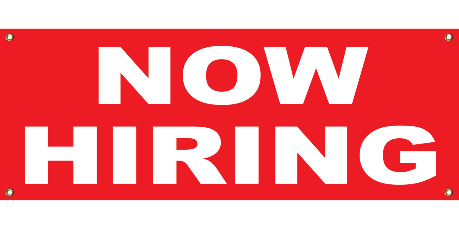 RED NOW HIRING 2' X 4'