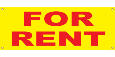 YELLOW FOR RENT BANNER 2' X 4'