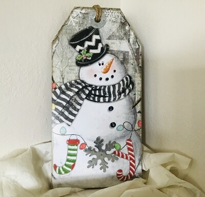 Large Snowman Tag