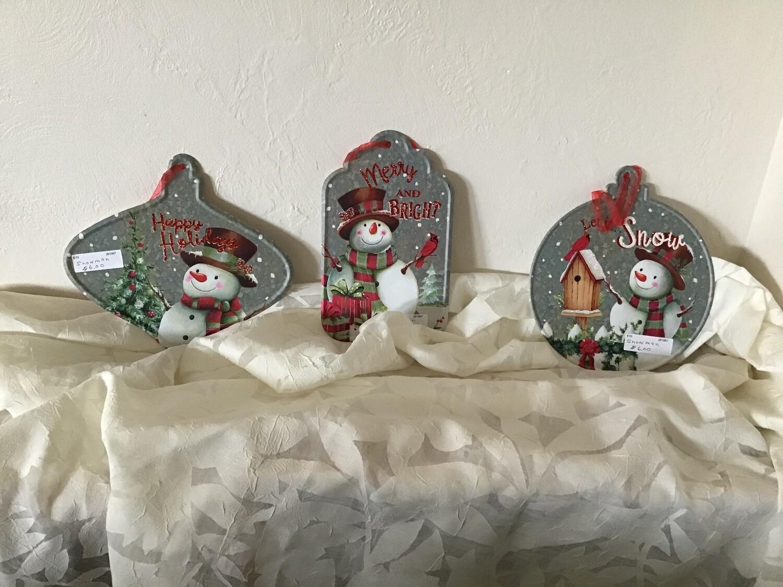 Metal Snowman Ornaments