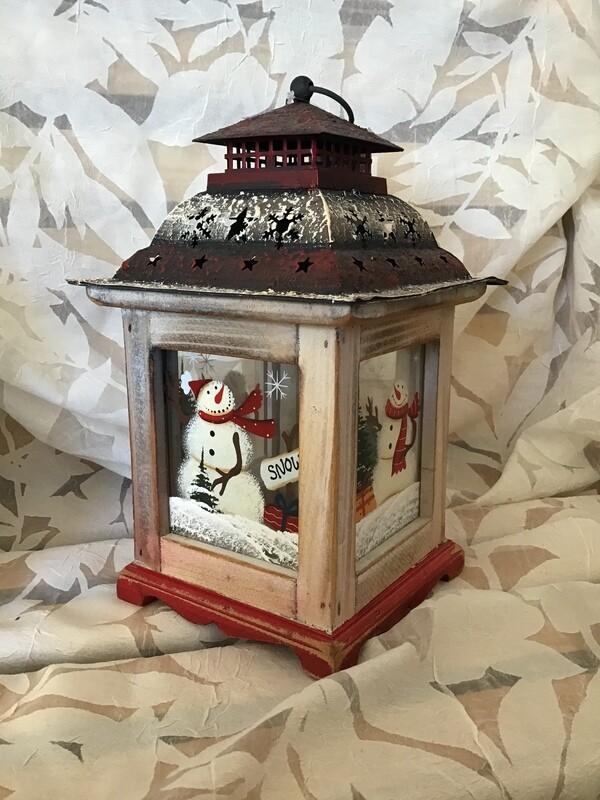 Painted Snowman Lantern