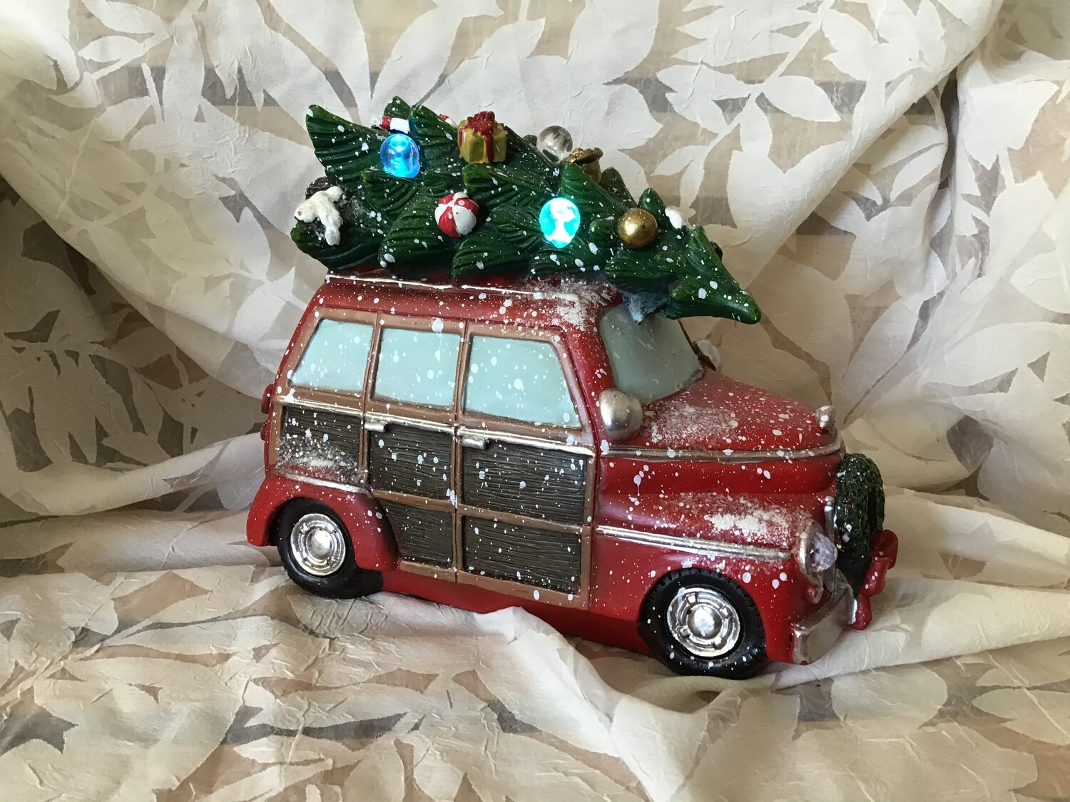 Station Wagon and Camper with Lighted Tree