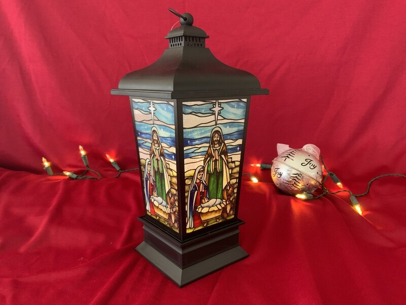 Lighted Stained Glass Look Lanterns