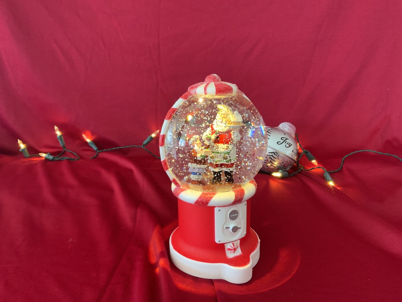 Peppermint Santa Snow Globe