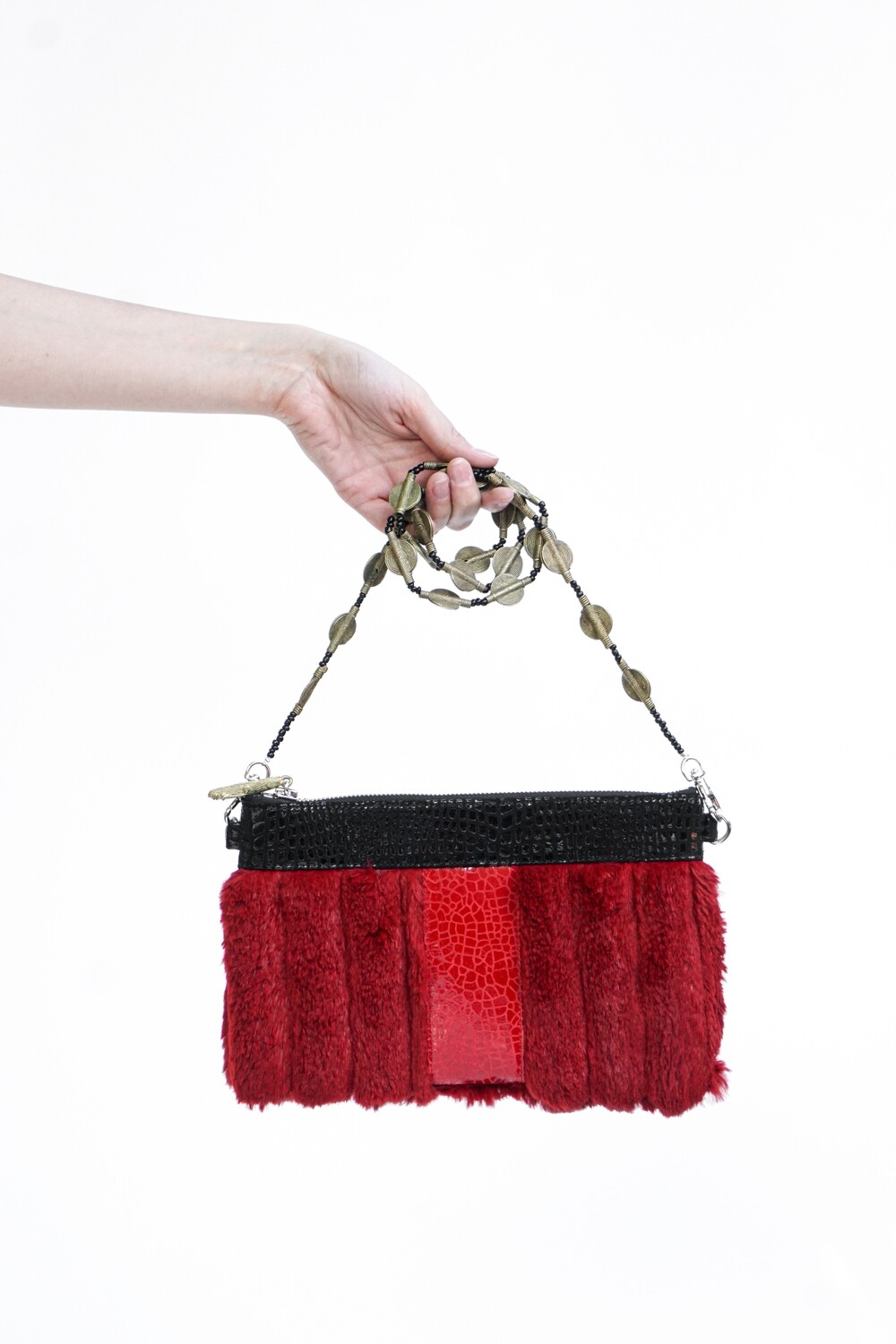 Upcycled Sheared Rabbit Fur Clutch