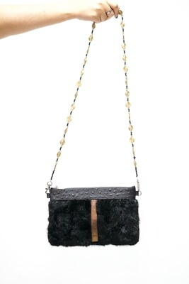 Black and Gold Fur Clutch