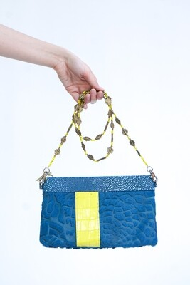 Blue & Yellow Leather Clutch