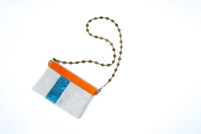 White & Blue Leather Clutch
