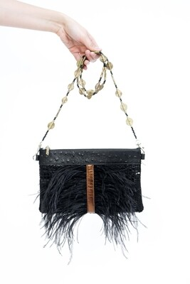 Black Leather Clutch With Feathers