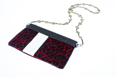 Red Animal Print Leather Clutch