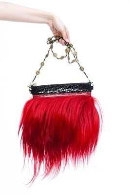 Red Goat Clutch With Long Hair