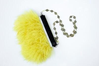 Yellow Mongolian Fur Crossbody Clutch