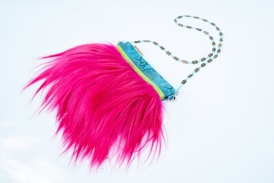 Pink Goat Clutch With Long Hair