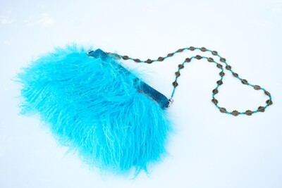 Blue Clutch With Mongolian Fur