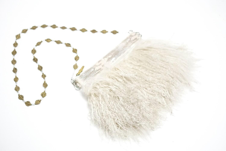 White Mongolian Fur Crossbody Clutch