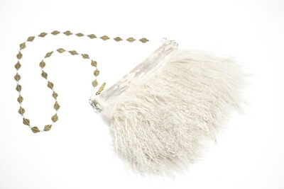 White Clutch With Mongolian Fur