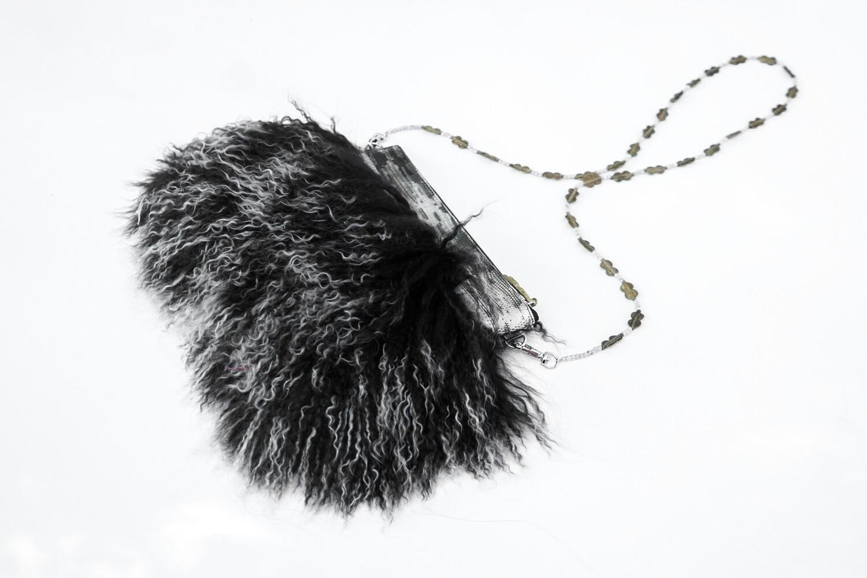 Black Mongolian Fur Crossbody Clutch